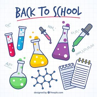 Collectie van laboratoriumartikel voor terug naar school
