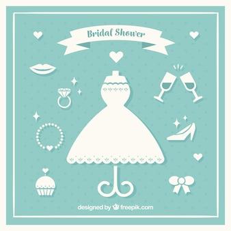 Collectie van witte bruids accessoires in plat design