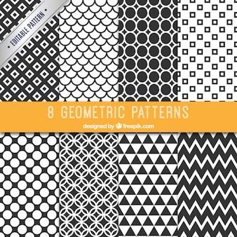 Collectie van zwarte en witte patronen