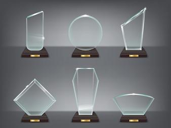 Collectie vector illustratie van moderne glazen trofeeën, prijzen