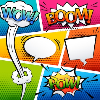 Comic geluid effect speech bubble pop art cartoon stijl vector