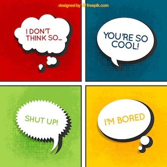 Comic tekstballonnen met berichten