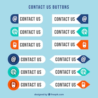 Contact web knoppen in plat design
