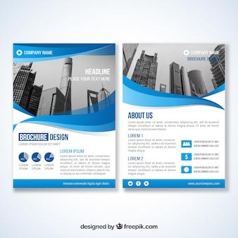 Corporate brochure van blauwe golven
