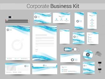 Corporate Business Kit met glanzende golven.