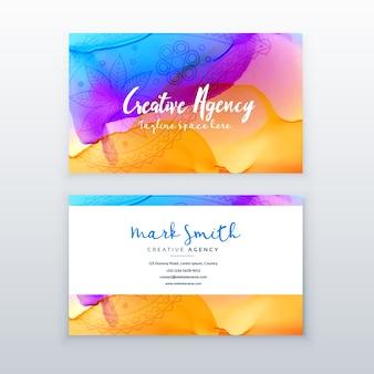 Creatief aquarel adreskaartje ontwerp sjabloon