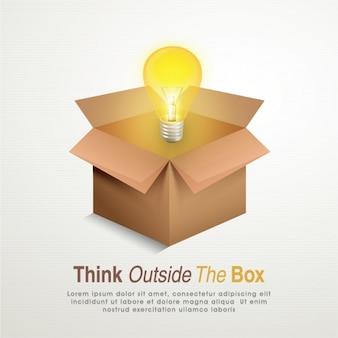 Creatieve achtergrond van de gloeilamp en de kartonnen doos