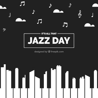 Creatieve achtergrond van de jazz dag met piano