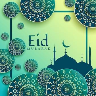 Creatieve eid festival groet achtergrond met islamitische patronen