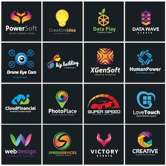 Creatieve logo collectie, Media en creatief idee logo ontwerp sjabloon.
