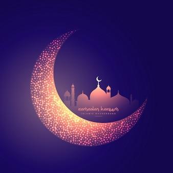 Creatieve moon en gloeiende moskee ontwerp