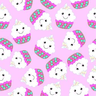 Cupcake patroon achtergrond