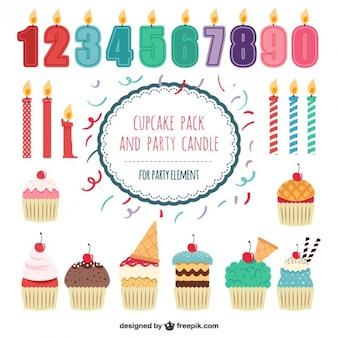 Cupcakes pak en feest kaarsen