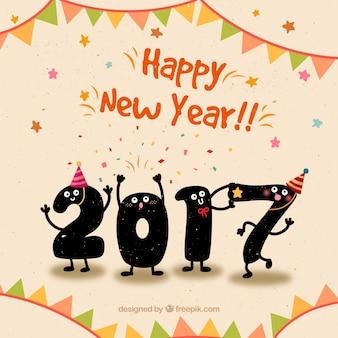 Cute Gelukkig Nieuwjaar achtergrond in grappige stijl