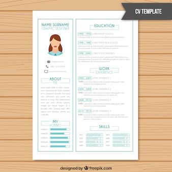 CV-sjabloon in de kleur wit met lichtblauwe informatie