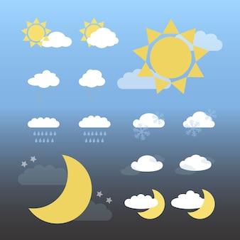 Dag en nacht weer iconen, cartoon vector