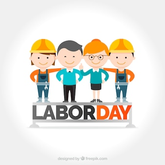 Dag van de Arbeid achtergrond met mooie werknemers