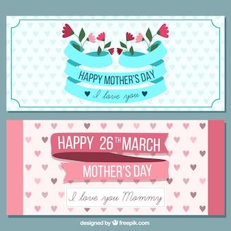 Dag van de leuke retro gelukkige moeder banners