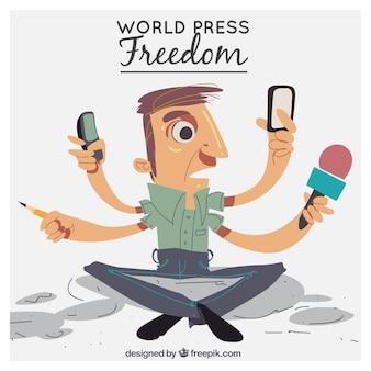 Dag van de Persvrijheid achtergrond van een man met vier armen