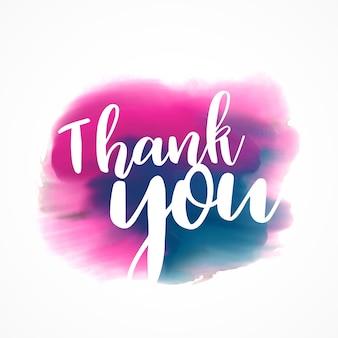 Dank u geschreven op de hand geschilderde rode en blauwe pennenstreek