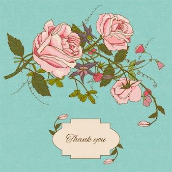 Dank u kaart met bloemen
