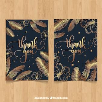 Dank u kaart met gouden veren