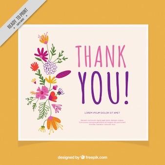 Dank u kaart versierd met bloemen