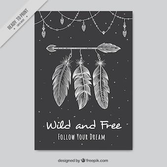 Dark boho-kaart met decoratieve pijl en veren