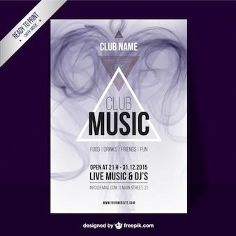 De club van de muziek poster met rook effect