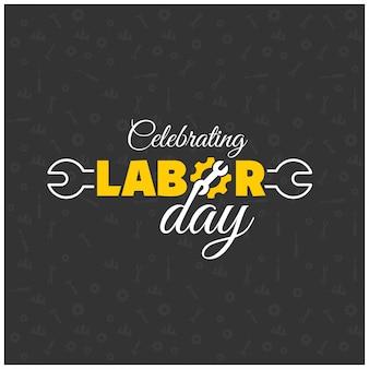 De gelukkige Dag van de Arbeid Creative Typografie met moersleutel op een zwarte patroon achtergrond