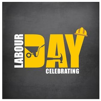 De gelukkige Dag van de Arbeid Simple Typografie op een grijze achtergrond