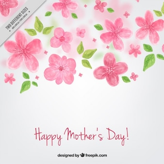 De hand geschilderde bloemen achtergrond van de dag van de moeder