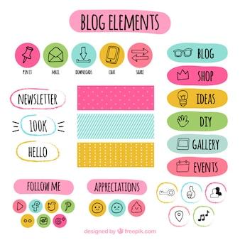 De hand getekend gekleurde blog elementen set