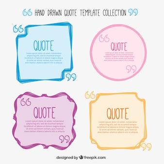 De hand getekend gekleurde citaat templates