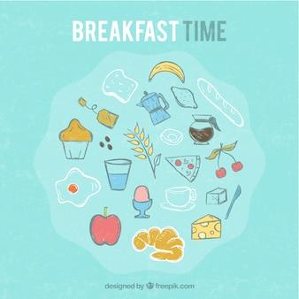 De hand getekend gekleurde ontbijt achtergrond