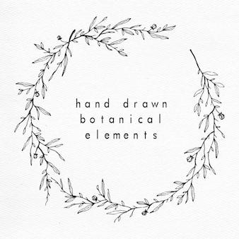 De hand getekende bloemen en botanische krans