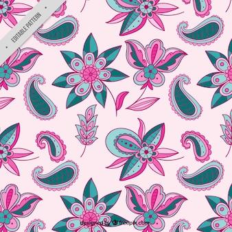 De hand getekende bloemen patroon batik