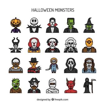 De hand getekende halloween monster