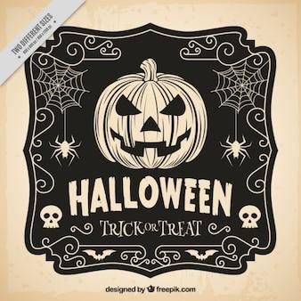 De hand getekende halloween vintage achtergrond