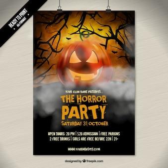 De horror halloween partij poster