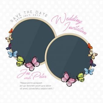 De Kaart van de Uitnodiging van het Huwelijk van de Vlinder van de waterverf