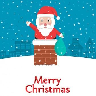 De Kerstman in de schoorsteen