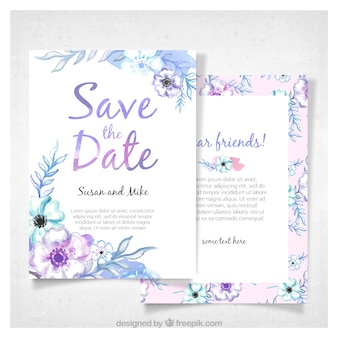 De moderne uitnodiging van de aquarelhuwelijk