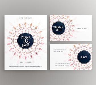 De uitnodiging van de huwelijksuitnodiging rsvp en dank u kaart sjabloon