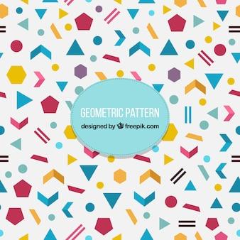 Decoratief patroon met geometrische vormen van kleuren in plat ontwerp