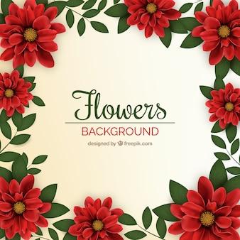 Decoratieve achtergrond met bloemen frame in realistische ontwerp