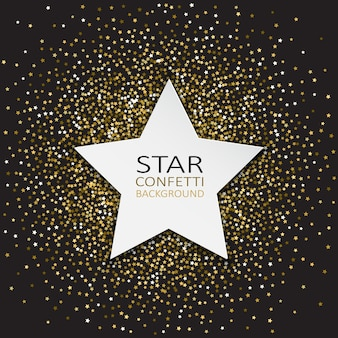 Decoratieve achtergrond met ster en confetti