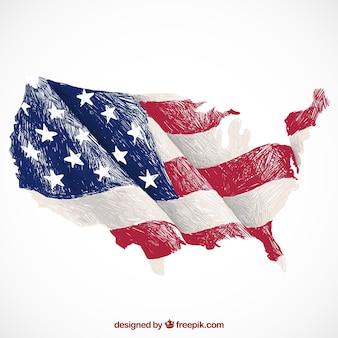 Decoratieve achtergrond met Verenigde Staten kaart en vlag
