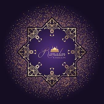 Decoratieve achtergrond voor Ramadan met gouden confetti