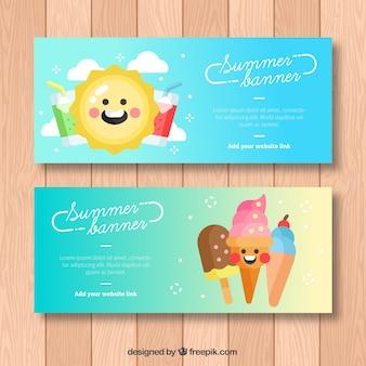 Decoratieve banners met gelukkige zomerkarakters